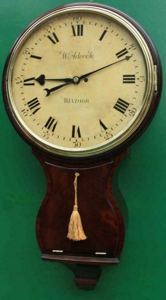 1775c-WADCOCK-WINDSOR-ENGLISH-BOMBE-MAHOGANY-8-DAY-FUSEE-18-WOODEN-DIAL-CLOCK-283538338710
