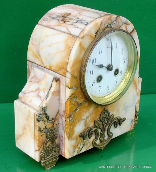 ART-DECO-FRENCH-8-DAY-TWO-TRAIN-MARBLE-GARNITURE-CLOCK-SET-282542779920-11