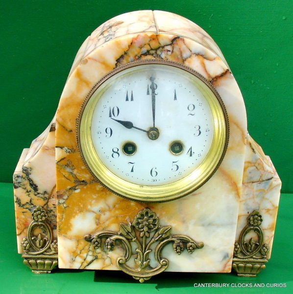ART-DECO-FRENCH-8-DAY-TWO-TRAIN-MARBLE-GARNITURE-CLOCK-SET-282542779920-2