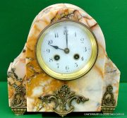 ART-DECO-FRENCH-8-DAY-TWO-TRAIN-MARBLE-GARNITURE-CLOCK-SET-282542779920-3