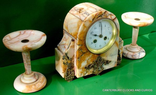 ART-DECO-FRENCH-8-DAY-TWO-TRAIN-MARBLE-GARNITURE-CLOCK-SET-282542779920-4