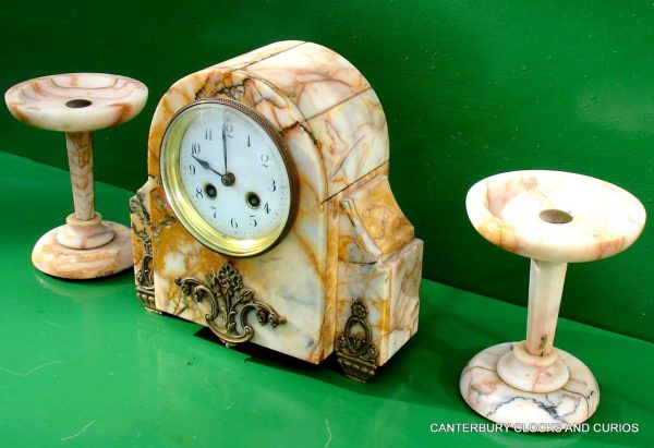 ART-DECO-FRENCH-8-DAY-TWO-TRAIN-MARBLE-GARNITURE-CLOCK-SET-282542779920-5