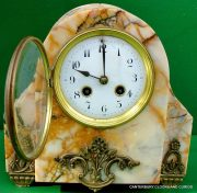 ART-DECO-FRENCH-8-DAY-TWO-TRAIN-MARBLE-GARNITURE-CLOCK-SET-282542779920-6