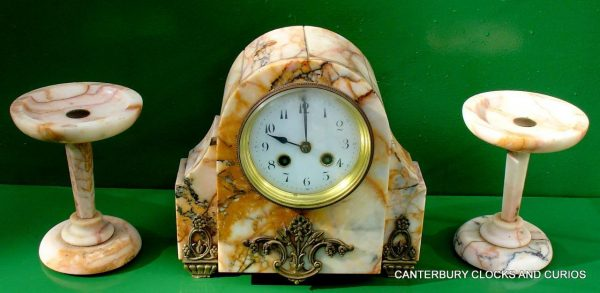 ART-DECO-FRENCH-8-DAY-TWO-TRAIN-MARBLE-GARNITURE-CLOCK-SET-282542779920