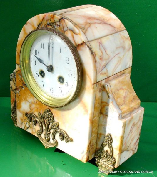 ART-DECO-FRENCH-8-DAY-TWO-TRAIN-MARBLE-GARNITURE-CLOCK-SET-282542779920-7