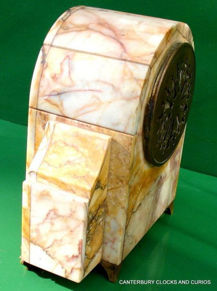ART-DECO-FRENCH-8-DAY-TWO-TRAIN-MARBLE-GARNITURE-CLOCK-SET-282542779920-9