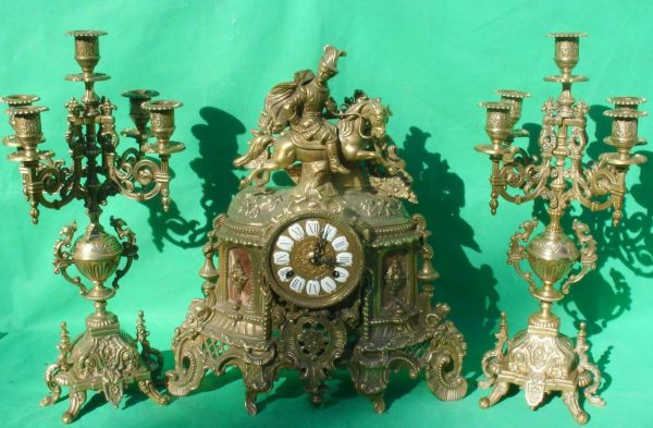 FRANZ-HERMLE-IMPERIAL-HORSEMAN-8-DAY-ITALIAN-CANDELABRA-GARNITURE-CLOCK-SET-283636237190-11