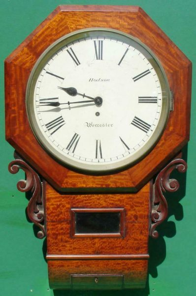 HODSON-WORCESTER-ANTIQUE-ENGLISH-8-DAY-MAHOGANY-FUSEE-SCHOOL-DROPDIAL-CLOCK-283600433040