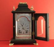 LENZKIRCH-ANTIQUE-GERMAN-8-DAY-SILVERED-ARCH-DIAL-EBONISED-BRACKET-CLOCK-283324735420-3