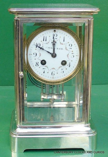 TIFFANY-COART-DECO-FRENCH-JAPY-FRERES-8-DAY-FOUR-GLASS-CRYSTAL-REGULATOR-CLOCK-283410867670