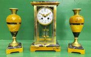 CLASSIC-FRENCH-ART-DECO-8-DAY-SIENNA-AND-PORTORO-MARBLE-GARNITURE-CLOCK-SET-283604953401