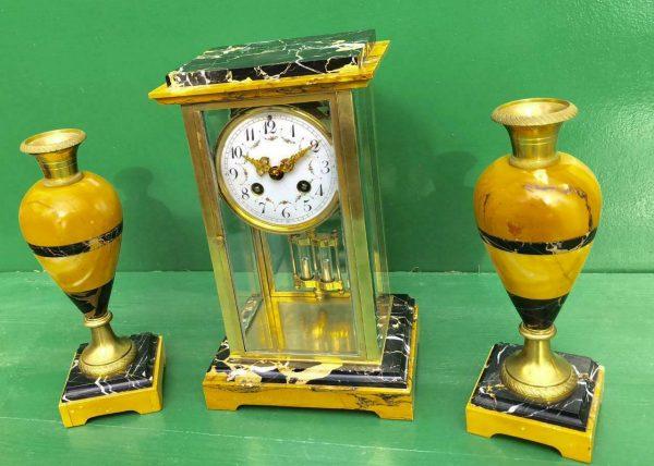 CLASSIC-FRENCH-ART-DECO-8-DAY-SIENNA-AND-PORTORO-MARBLE-GARNITURE-CLOCK-SET-283604953401-3