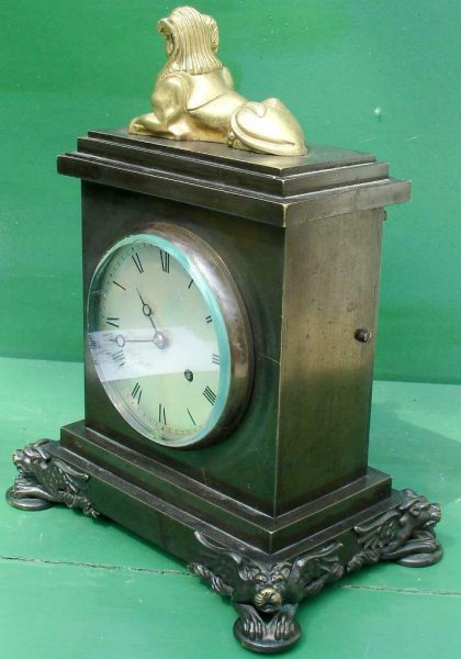 ANTIQUE-ENGLISH-HEARN-LONDON-EGYPTIAN-REVIVAL-8-DAY-FUSEE-BRONZE-TABLE-CLOCK-283569554952-3