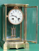 FRENCH-ANTIQUE-BOW-FRONT-CRYSTAL-REGULATER-FOUR-GLASS-MANTLE-CLOCK-CIRCA-1880-283116972442-2