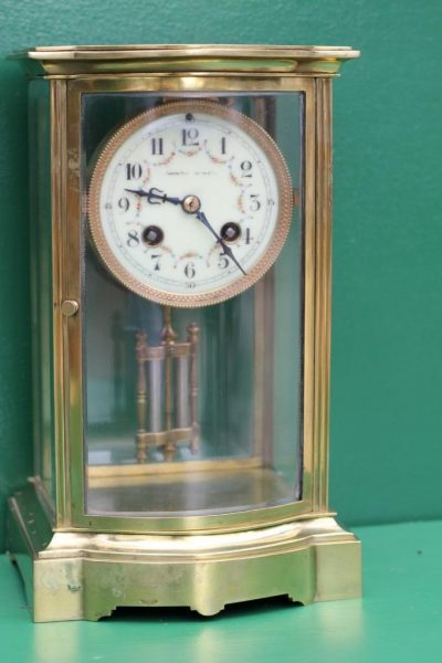 FRENCH-ANTIQUE-BOW-FRONT-CRYSTAL-REGULATER-FOUR-GLASS-MANTLE-CLOCK-CIRCA-1880-283116972442