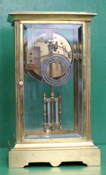 FRENCH-ANTIQUE-BOW-FRONT-CRYSTAL-REGULATER-FOUR-GLASS-MANTLE-CLOCK-CIRCA-1880-283116972442-6