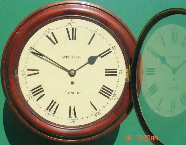 WEBSTER-LONDON-ANTIQUE-ENGLISH-8-DAY-MAHOGANY-12-FUSEE-DIAL-CLOCK-283600423802-2