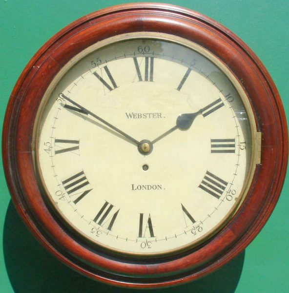 WEBSTER-LONDON-ANTIQUE-ENGLISH-8-DAY-MAHOGANY-12-FUSEE-DIAL-CLOCK-283600423802