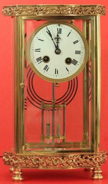 ANTIQUE-FRENCH-ORNATE-SERPENTINE-CRYSTAL-REGULATOR-MANTLE-CLOCK-SIGNED-BY-HH-283351356763-3