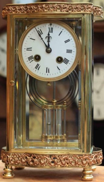 ANTIQUE-FRENCH-ORNATE-SERPENTINE-CRYSTAL-REGULATOR-MANTLE-CLOCK-SIGNED-BY-HH-283351356763