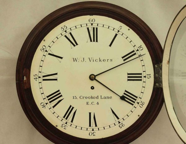 EARLY-ENGLISH-GEORGIAN-8-DAY-FUSEE-14-DIAL-CLOCK-W-J-VICKERS-13-CROOKED-LANE-283401136303-3