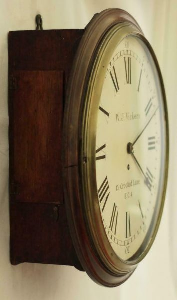 EARLY-ENGLISH-GEORGIAN-8-DAY-FUSEE-14-DIAL-CLOCK-W-J-VICKERS-13-CROOKED-LANE-283401136303-5