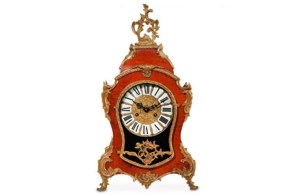 LARGE-VINTAGE-ITALIAN-8-DAY-WALNUT-BOULLE-TYPE-ROCOCO-MANTLE-CLOCK-283636176663