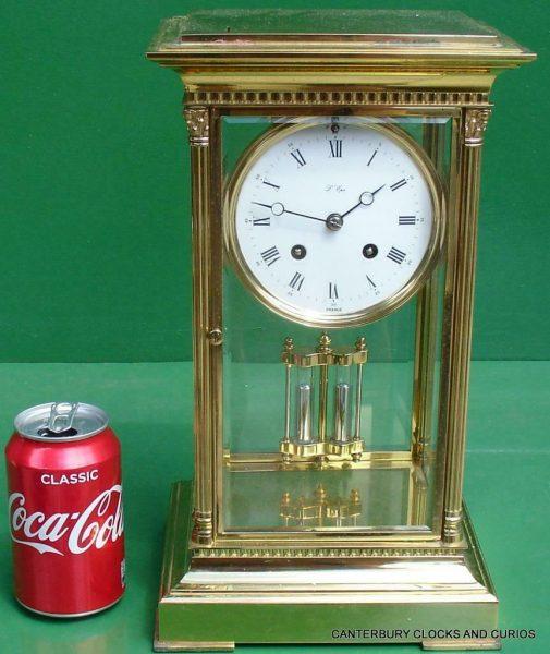 LEPEE-VINTAGE-FRENCH-8-DAY-FOUR-GLASS-CRYSTAL-REGULATOR-MANTLE-TABLE-CLOCK-10kg-283567406933-2