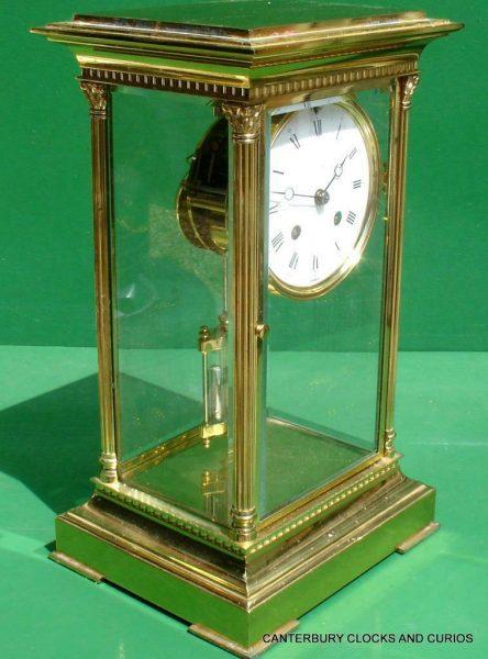 LEPEE-VINTAGE-FRENCH-8-DAY-FOUR-GLASS-CRYSTAL-REGULATOR-MANTLE-TABLE-CLOCK-10kg-283567406933-4