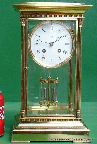 LEPEE-VINTAGE-FRENCH-8-DAY-FOUR-GLASS-CRYSTAL-REGULATOR-MANTLE-TABLE-CLOCK-10kg-283567406933