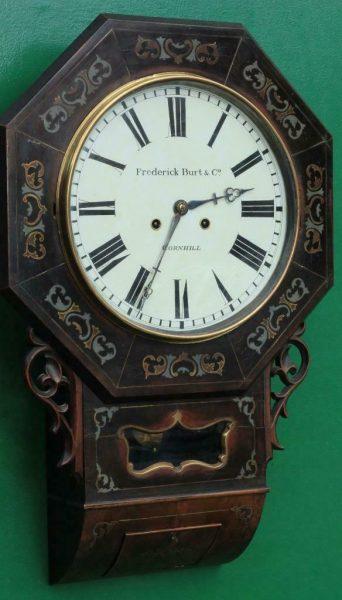 ANTIQUE-FREDERICK-BURT-CO-CORNHILL-8-DAY-TWO-TRAIN-ENGLISH-DROP-DIAL-CLOCK-283538368224-2