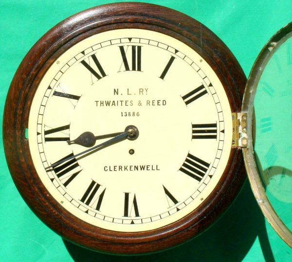 THWAITES-REED-NORTH-LONDON-RAILWAY-8-DAY-FUSEE-DIAL-CLOCK-13886-283637210634-2