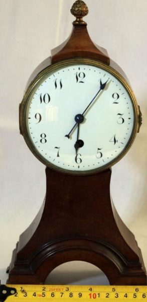 ANTIQUE-ENGLISH-8-DAY-BALLOON-HEAD-MAHOGANY-MANTLE-CLOCK-283308627745