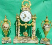 ANTIQUE-FRENCH-MARBLE-ROCOCO-PORTICO-GARNITURE-URN-CLOCK-SET-93328-283637579315