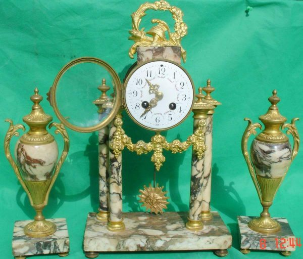 ANTIQUE-FRENCH-MARBLE-ROCOCO-PORTICO-GARNITURE-URN-CLOCK-SET-93328-283637579315-2
