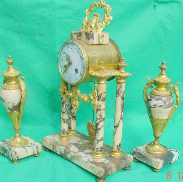 ANTIQUE-FRENCH-MARBLE-ROCOCO-PORTICO-GARNITURE-URN-CLOCK-SET-93328-283637579315-4