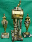 ANTIQUE-FRENCH-MARBLE-ROCOCO-PORTICO-GARNITURE-URN-CLOCK-SET-93328-283637579315-5