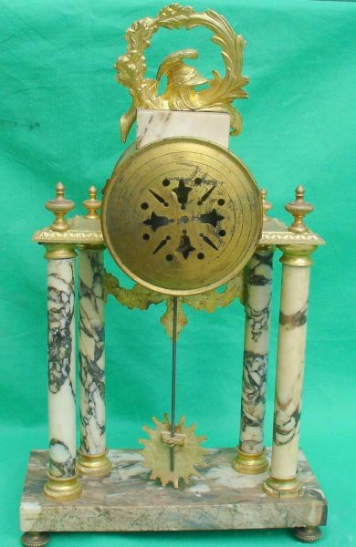 ANTIQUE-FRENCH-MARBLE-ROCOCO-PORTICO-GARNITURE-URN-CLOCK-SET-93328-283637579315-6