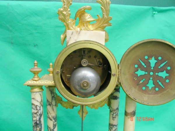 ANTIQUE-FRENCH-MARBLE-ROCOCO-PORTICO-GARNITURE-URN-CLOCK-SET-93328-283637579315-7