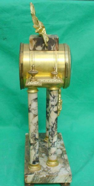 ANTIQUE-FRENCH-MARBLE-ROCOCO-PORTICO-GARNITURE-URN-CLOCK-SET-93328-283637579315-9