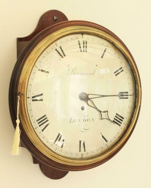 EARLY-ENGLISH-12-INCH-8-DAY-FUSEE-DIAL-CLOCK-SIGNED-BARNARD-LONDON-283468346875-2