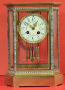 RARE-JAPY-FRERES-8-GLASS-CLOISONNE-ANTIQUE-FRENCH-CRYSTAL-REGULATOR-MANTLE-CLOCK-283350191305-2