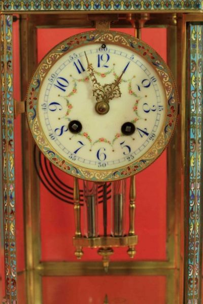 RARE-JAPY-FRERES-8-GLASS-CLOISONNE-ANTIQUE-FRENCH-CRYSTAL-REGULATOR-MANTLE-CLOCK-283350191305-3