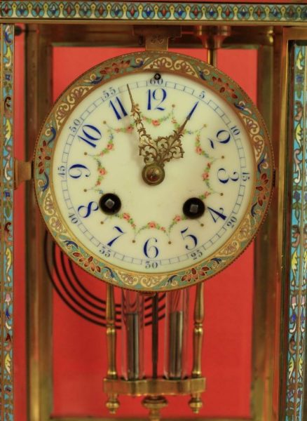 RARE-JAPY-FRERES-8-GLASS-CLOISONNE-ANTIQUE-FRENCH-CRYSTAL-REGULATOR-MANTLE-CLOCK-283350191305-4