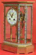 RARE-JAPY-FRERES-8-GLASS-CLOISONNE-ANTIQUE-FRENCH-CRYSTAL-REGULATOR-MANTLE-CLOCK-283350191305-6