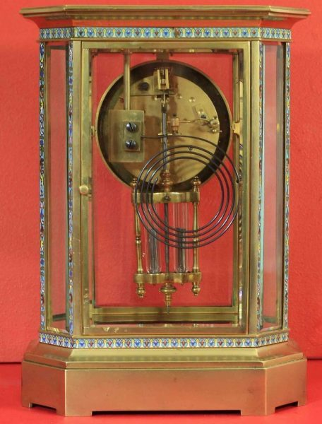 RARE-JAPY-FRERES-8-GLASS-CLOISONNE-ANTIQUE-FRENCH-CRYSTAL-REGULATOR-MANTLE-CLOCK-283350191305-9