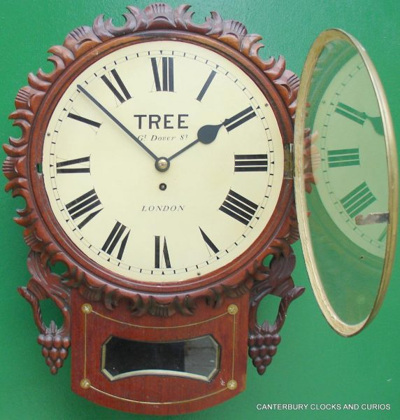 TREE-LONDON-DECORATIVE-MAHOGANY-8-DAY-ENGLISH-FUSEE-DROP-DIAL-CLOCK-282865694475-2