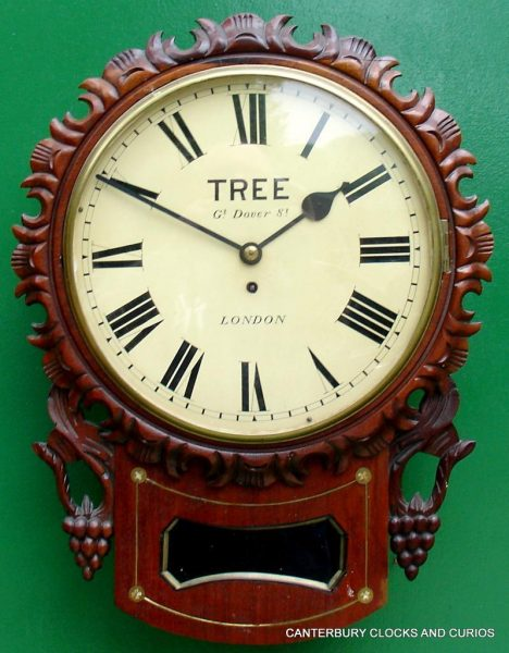 TREE-LONDON-DECORATIVE-MAHOGANY-8-DAY-ENGLISH-FUSEE-DROP-DIAL-CLOCK-282865694475