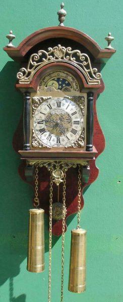VINTAGE-DUTCH-VAN-DAM-TWIN-WEIGHT-8-DAY-WALNUT-WALL-CLOCK-283569691435