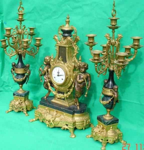IMPERIAL-ITALIAN-CANDELABARAS-GARNITURE-BRONZE-CHERUB-8-DAY-ORMOLU-LYRE-CLOCK-283752984226-12